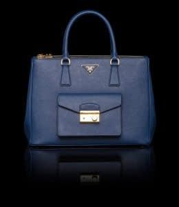 Prada Cornflower Blue Saffiano Lux Tote with Cargo Pocket Bag