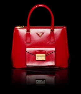 Prada Red Patent Saffiano Lux Tote with Cargo Pocket Bag
