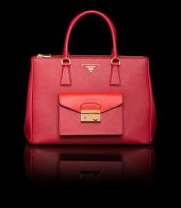 Prada Red/Lacquer Red Saffiano Lux Tote with Cargo Pocket Bag