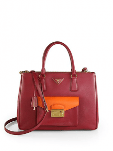 Prada Red/Papaya Bi-color Saffiano Lux Tote with Cargo Pocket Bag