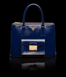Prada Royal Blue Patent Saffiano Lux Tote with Cargo Pocket Bag