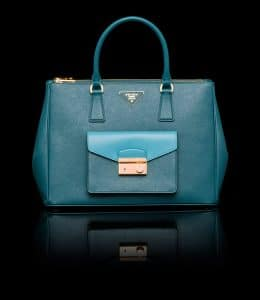 Prada Teal/Turquoise Saffiano Lux Tote with Cargo Pocket Bag