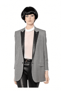 Saint Laurent Houndstooth and Leather Boyfriend Jacket