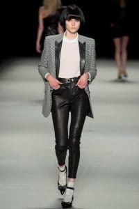 Saint Laurent Houndstooth and Leather Boyfriend Jacket - Spring 2014 RTW