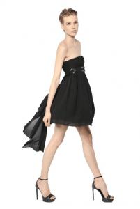 Saint Laurent Leather Belt Georgette Bustier Dress