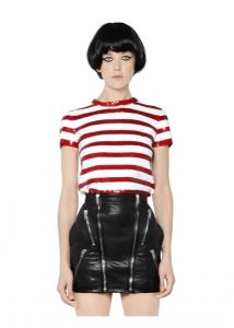 Saint Laurent Sequin Stripes Knit Cotton Top