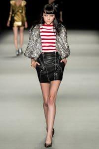 Saint Laurent Sequin Stripes Knit Cotton Top - Spring 2014 RTW