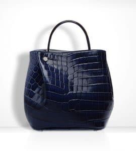 Diorific Navy Blue Croc Small Bucket Bag