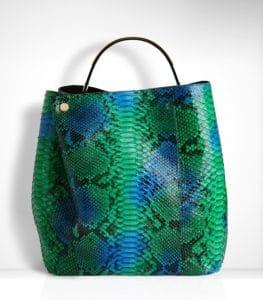 Diorific Hand Painted Green Python Medium Bag