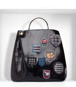 Diorific Bucket Bag with Badges in Python Large Bag