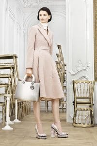 Dior White/Light Brown Lady Dior Bag - Pre-Fall 2014