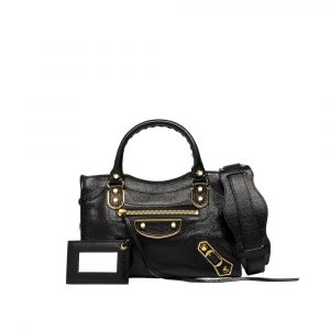 Balenciaga Black Classic Metallic Edge Mini City Bag