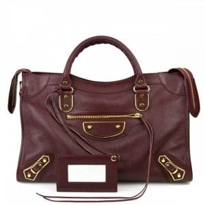 Balenciaga Bordeaux Classic Metallic Edge City Bag