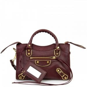 Balenciaga Bordeaux Classic Metallic Edge Mini City Bag