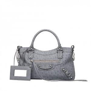 Balenciaga Grey Ostrich Classic First Bag - Spring 2014