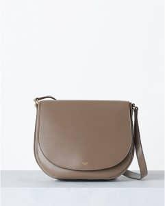 Celine Taupe Grained Calfskin Trotteur Bag