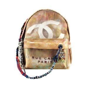 Chanel Beige Chanel Graffiti Backpack Bag - Spring 2014