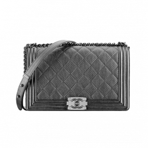 Chanel Metallic Grey Perforated Boy Bag - Spring 2014 Act 1