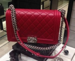 Chanel Red Boy Chanel Perforated Large Flap Bag