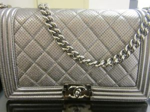 Chanel Silver Boy Chanel Perforated Medium Flap Bag