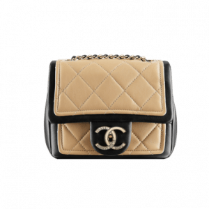 Chanel Two Tone Beige Mini Graphic Flap Bag - Spring 2014 Act 1
