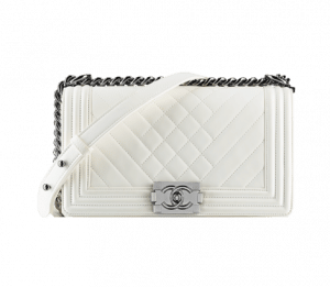 Chanel White Boy Chevron Flap Bag - Spring 2014 Act 1