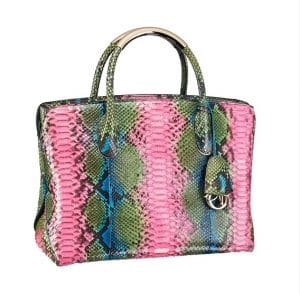 Dior Pink and Green Hand Painted Bar Bag - Spring 2014