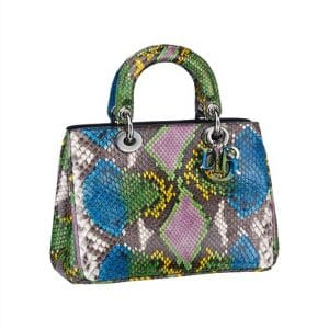 Diorissimo Hand Painted Multicolor Python Small Tote Bag - Spring 2014