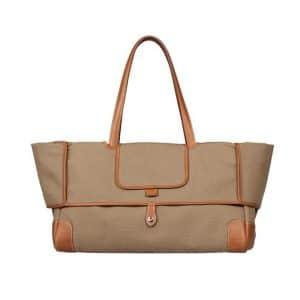 Hermes Brown Canvas Tote Bag - Spring 2014