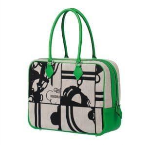 Hermes Green Printed Canvas Victoria Bag - Spring 2014