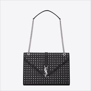 Saint Laurent Black Studded Classic Monogramme Saint Laurent Large Satchel Bag - Spring 2014