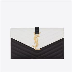 Saint Laurent Black/White Classic Monogramme Saint Laurent Envelope Clutch Bag - Spring 2014