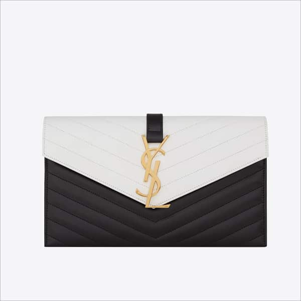 Saint Lau Black White Classic Monogramme Envelope Clutch Bag Spring 2017