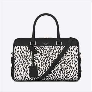 Saint Laurent Black/White Leopard Print Classic Duffle 12 Bag - Spring 2014
