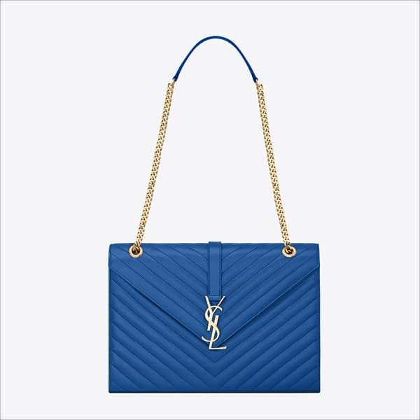 Saint Laurent Blue Classic Monogramme Saint Laurent Large Satchel Bag - Spring 2014