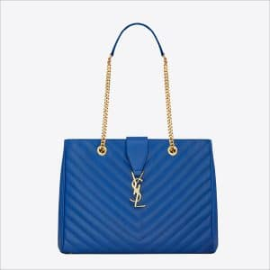 Saint Laurent Blue Classic Monogramme Saint Laurent Shopping Bag - Spring 2014