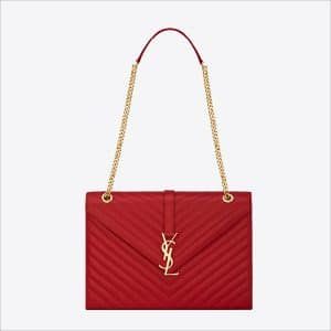 Saint Laurent Red Classic Monogramme Saint Laurent Large Satchel Bag - Spring 2014