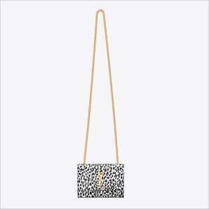 Saint Laurent White Leopard Print Classic Monogramme Saint Laurent Small Satchel Bag - Spring 2014