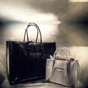 Balenciaga Papier White and Black Python Tote Bag - Spring 2014 - 2
