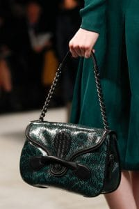 Bottega Veneta Black/Green Python Shoulder Bag - Fall 2014
