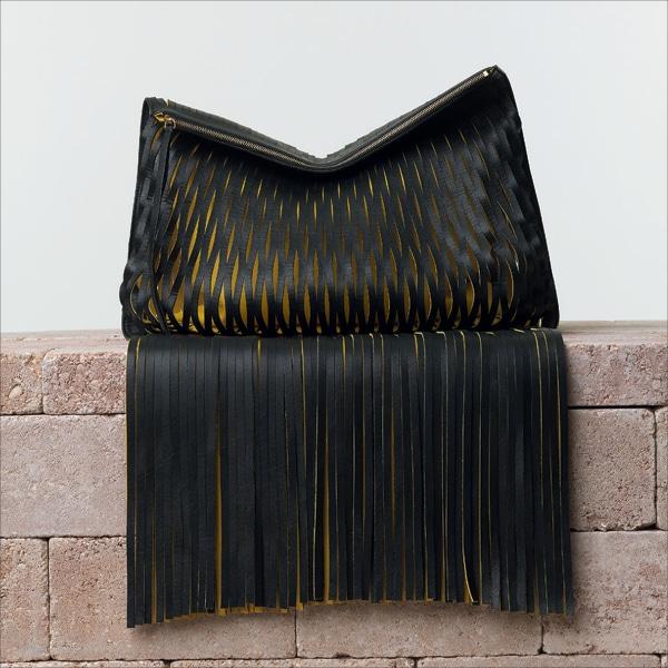 celine black leather clutch bag