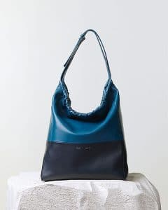 Celine Blue Shoulder Drawstring Bicolor Cabas Bag - Pre Fall 2014