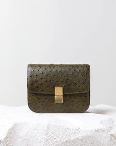 Celine Khaki Ostrich Box Flap - Pre Fall 2014
