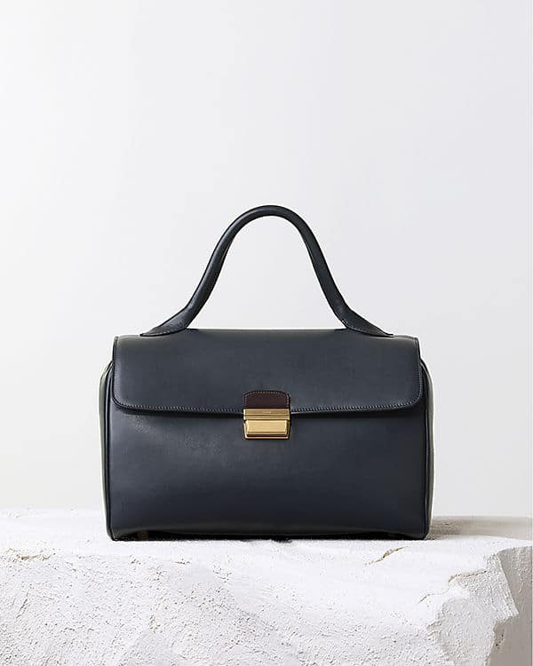 Celine Navy Top Handle Natural Calfskin Bag - Pre Fall 2014 cabafdcd58bdb