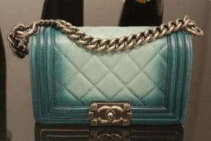 Chanel Dark Green/Light Green Quilted Boy Small Bag