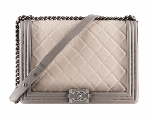 Chanel Grey/Beige Ombre Quilted Boy Large Bag