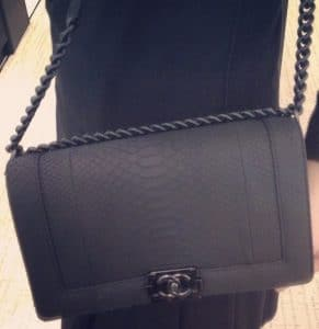 Chanel Python So Black Boy Bag