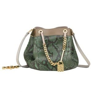 Chloe Green Python Camille Drawstring Medium Bag - Spring 2014