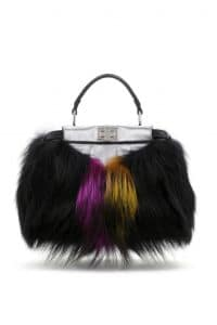 Fendi Black Fox Fur Peekaboo Mini Bag - Spring 2014