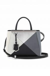 Fendi Black Multicolor Geometric 3D 2Jours Tote Small Bag - Spring 2014